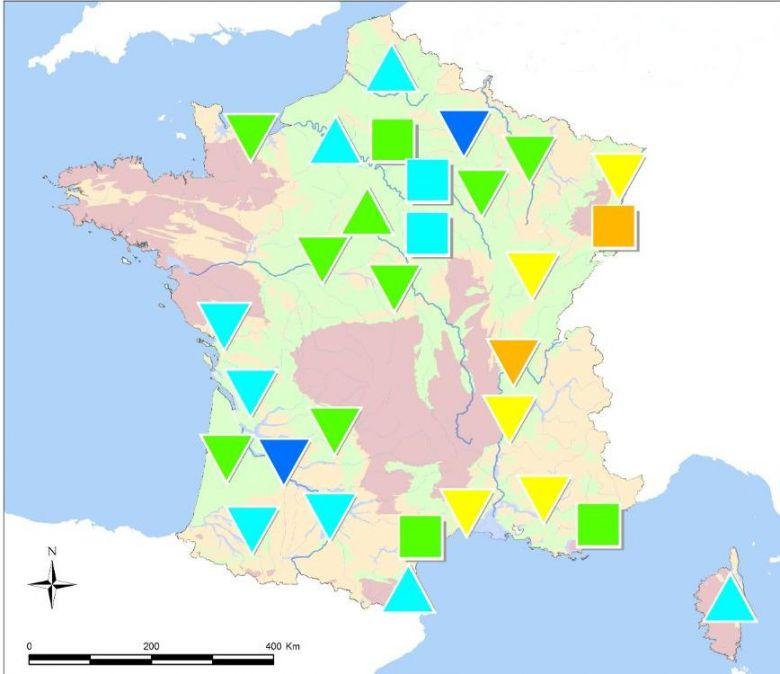 En jaune sur la carte, la Bourgogne-Franche-Comté est une région où le niveau des nappes phréatiques est dans la moyenne basse. / © BRGM