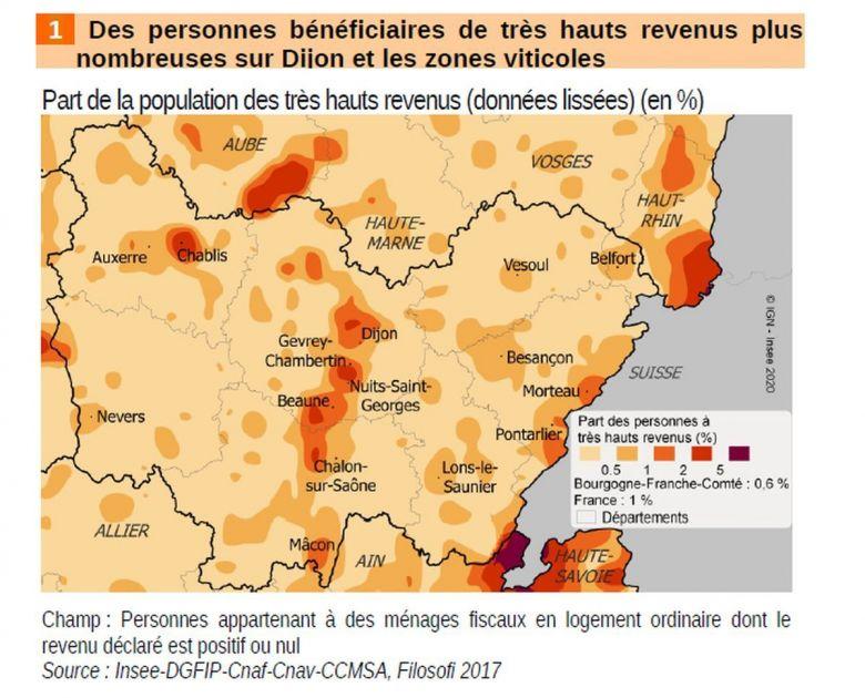 Les personnes disposant de très hauts revenus sont plus nombreuses sur Dijon et les zones viticoles / © Insee