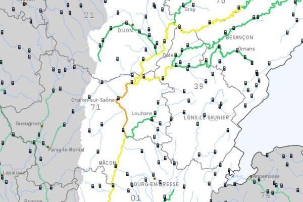 Sur le site de Vigicrues, le tronçon de Saône de l'Ognon au Doubs demeure en alerte orange 'crue-inondations'