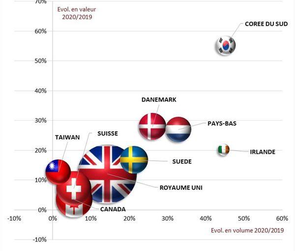 Les 9 pays ayant la meilleure croissance au niveau des exportations en 2020.